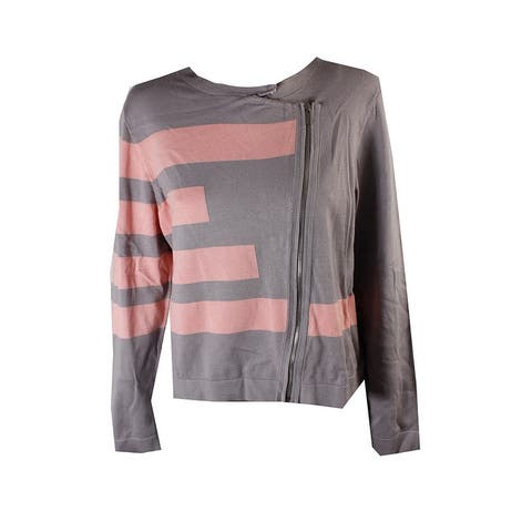 Grace Elements Grey Pink Asymmetrical-Zip Sweater Jacket M