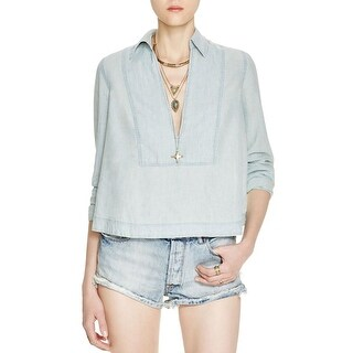 Free People Womens Ready Or Not Blouse Linen Blend Hi-Low