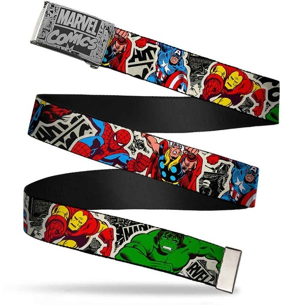 Marvel Comics marvel Comics Logo Comic Scenes Brushed Silver Black Cam Web Belt
