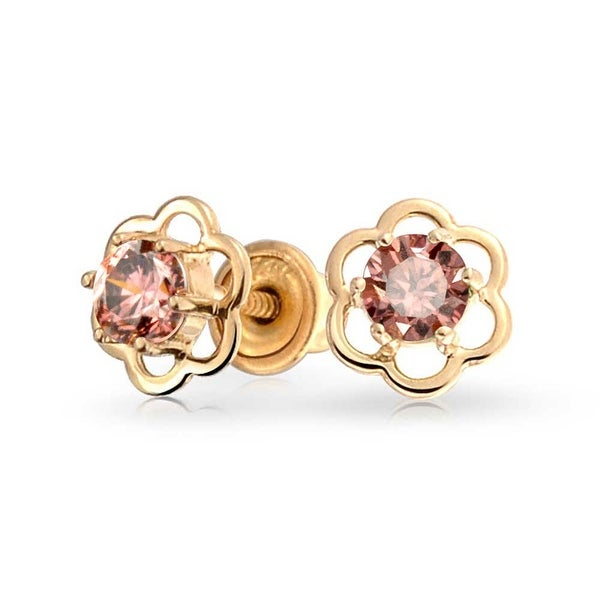 Bling Jewelry 14k Gold Pink Cz Safety Kids Flower Stud Earrings