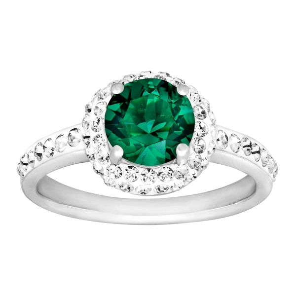 Crystaluxe May Ring with Green Swarovski Elements Crystals in Sterling Silver