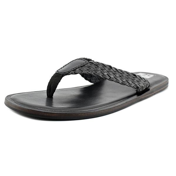 29 Porter Rd Dryden Men Open Toe Leather Black Thong Sandal