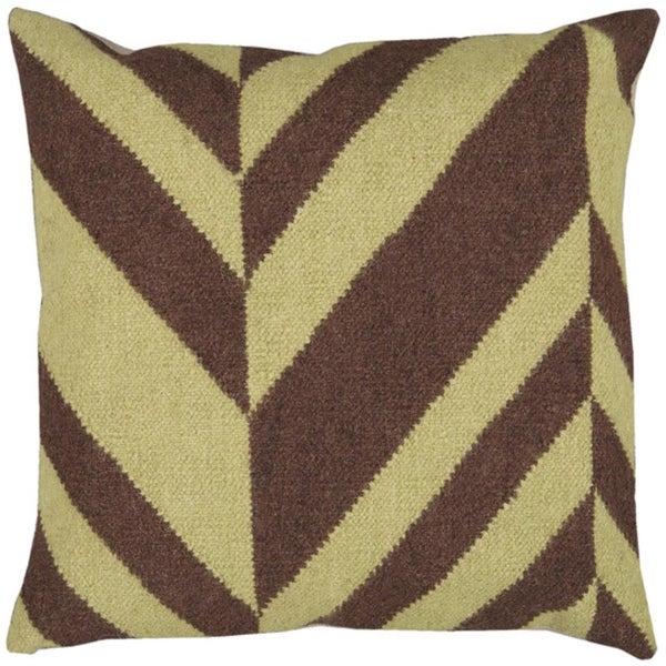 """22"""" Coffee Bean Brown and Lima Bean Green Chevron Decorative Down Throw Pillow"""