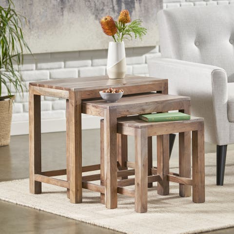 """Weichman Handcrafted Rustic Acacia Wood Nested Tables (Set of 3) by Christopher Knight Home - 24.00"""" L x 15.00"""" W x 22.00"""" H"""