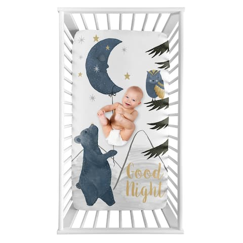 Woodland Bear and Owl Boy or Girl Photo Op Fitted Crib Sheet - Navy Blue Grey Gold Black Celestial Moon Star Watercolor Forest