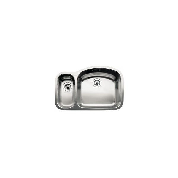 "Blanco 440245 Wave 1-1/2 Reverse Basin Undermount Stainless Steel Kitchen Sink with 6"" and 10"" Bowl Depths 32 1/8"" x 20 7/8"""