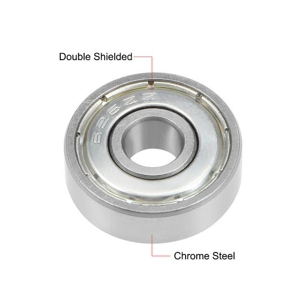 6mm x 19mm x 6mm Chrome Steel Bearings 626Z Deep Groove Ball Bearing with Single Shield 60026 Pack of 5
