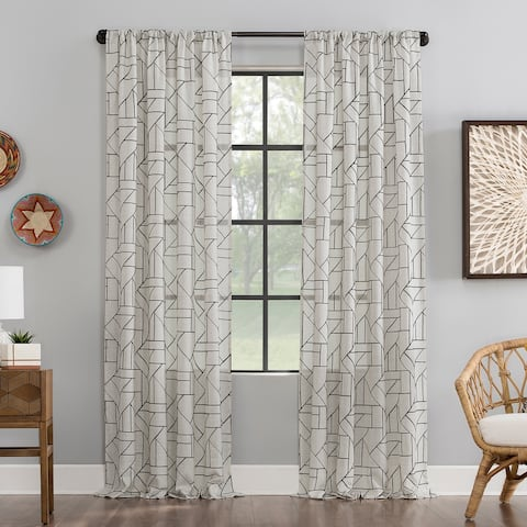 Archaeo Jigsaw Embroidery Linen Blend Curtain, Single Panel