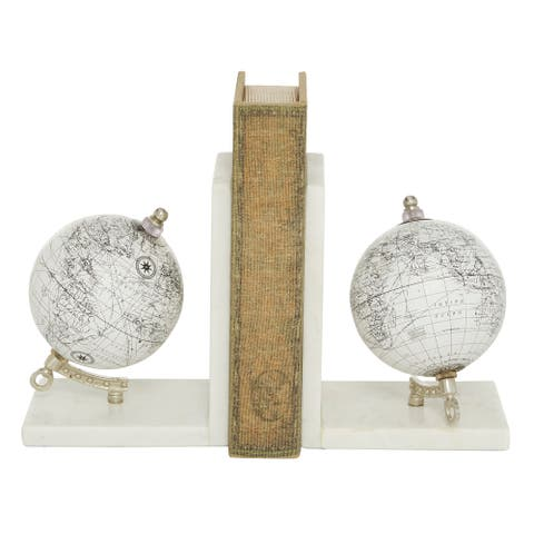 """Black And White Globe Bookends With Light Marble Base 5"""" X 7"""" - 5 x 4 x 7Round"""