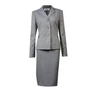 Le Suit Women's Torino Shepherd's Plaid Skirt Suit - Grey Multi