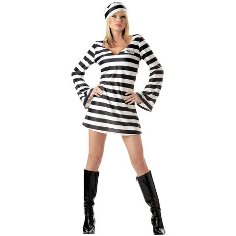 California Costumes Convict Chick Adult Costume - Black/White