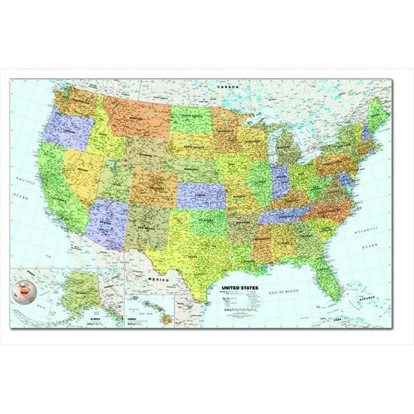 Laminated United States Map.Shop Laminated Write And Wipe United States Map With Wet Erase
