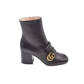 Gucci Fringed Black Leather Ankle Boots Double G Size 38 / 8