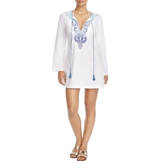 Tommy Bahama Womens Cotton Embroidered Dress Swim Cover-Up - L