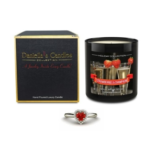 Strawberries and Champagne Jewelry Candle, Ring Size 5