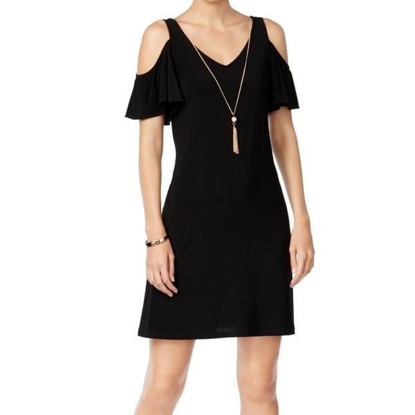82b424cb5d49 MSK NEW Black Womens Medium M Cold-Shoulder Tassel Necklace Sheath Dress
