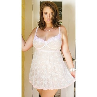 Plus Size Girly Confessions Babydoll And G-string, Pink Lace Babydoll Lingerie