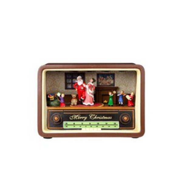 """Pack of 2 Icy Crystal Animated Musical Christmas Radio Party Figurines 5.25"""" - brown"""