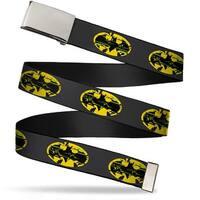 Blank Chrome  Buckle Weathered Batman Shield Gray Yellow Black Webbing Web Belt