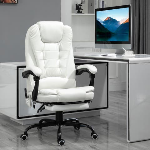 Vinsetto 7-Point Vibrating Massage Office Chair High Back Executive Recliner with Lumbar Support, Footrest, Reclining Back