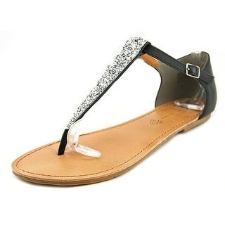 BC Footwear Tabby Women  Open Toe Synthetic Black Thong Sandal
