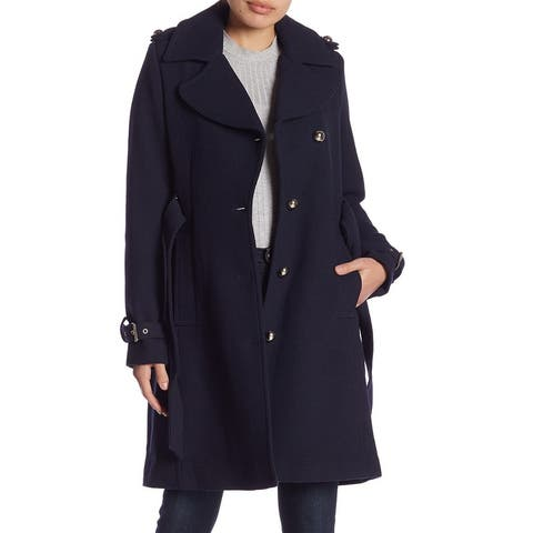 Guess Womens Coat Navy Blue Size Medium M Notch Collar Belted Textured