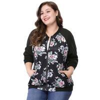 Women's Plus Size Zipper Raglan Sleeves Floral Bomber Jacket - Black