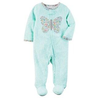 Carter's Baby Girls' Interlock Butterfly Sleeper, 6 Months - Turquoise