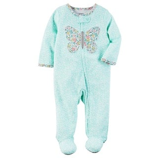Carter's Baby Girls' Interlock Butterfly Sleeper, 9 Months - Turquoise