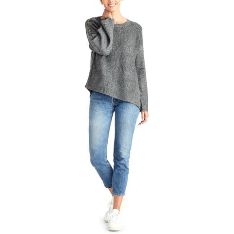 Rachel Rachel Roy Womens Sweater Ribbed Knit Asymmetric - Heather Grey