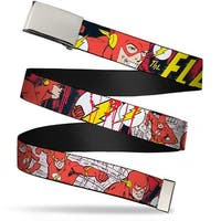 Blank Chrome Buckle The Flash In Action Webbing Web Belt