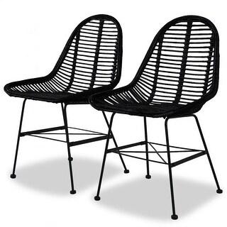 vidaXL Dining Chairs 2 pcs Natural Rattan Black
