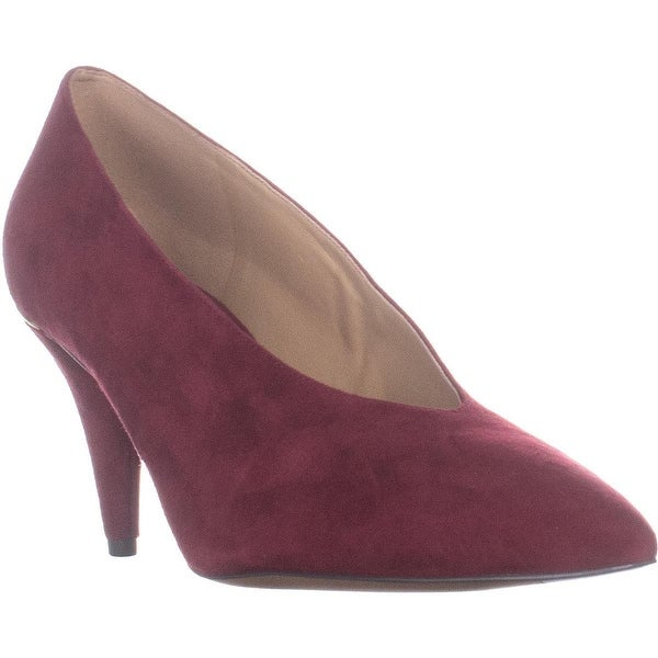 59ca094a86b1 MICHAEL Michael Kors Lizzy Mid Pump Classic Dress Heels, Maroon Suede - 11  US /