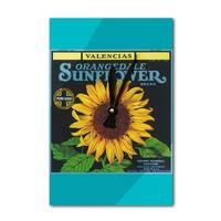 Redlands CA - Sunflower - Vintage Label (Acrylic Wall Clock) - acrylic wall clock