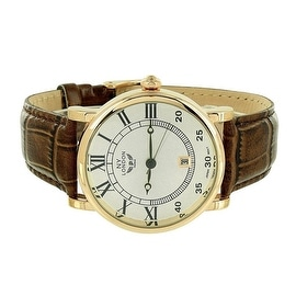 Mens NY London Watch Brown Leather Band White Dial Analog Display Date Function Stainless Steel Back