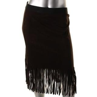 Karen Kane Womens Faux Suede Knee-Length Pencil Skirt