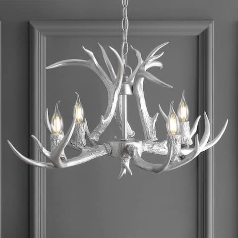 "Eldora 26"" Resin Antler 4-Light LED Chandelier, Silver by JONATHAN Y"