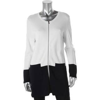 Calvin Klein Womens Full Zip Sweater Stretch Colorblock