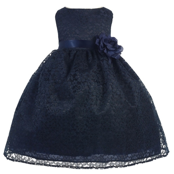 Baby Girls Navy Floral Lace T-Length Flower Girl Dress 6-24M