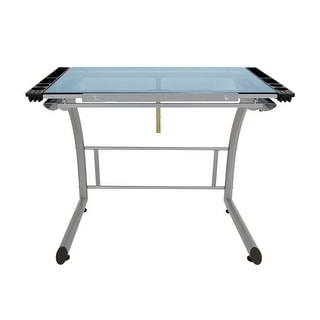 Offex Triflex Drawing Table, Sit to Stand Up Desk - Silver/Blue Glass