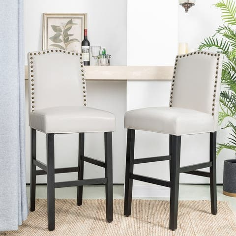 """Glitzhome 45""""H Leatherette Barchair with Studded back Set of 2"""