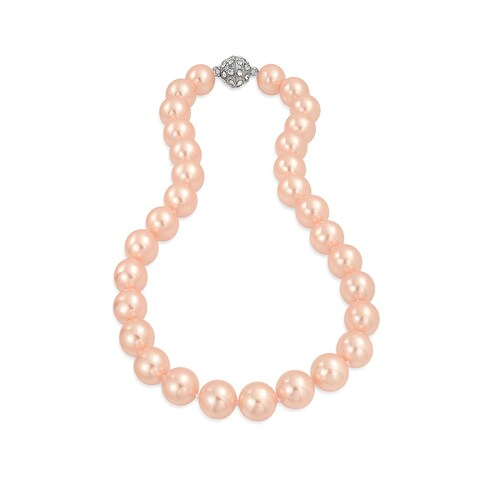 Bling Jewelry Rhodium Plated Imitation Pink Pearl Bridal Necklace