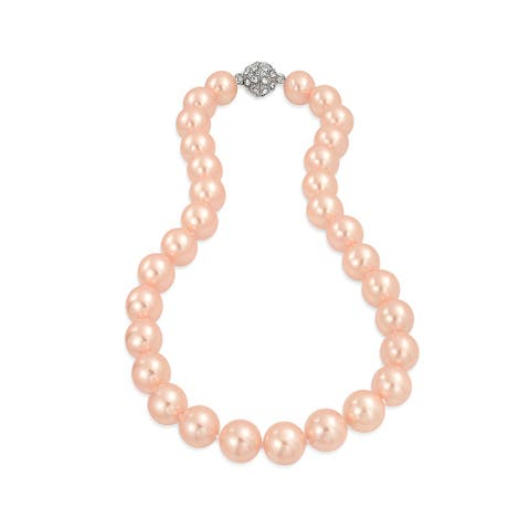 Pink Strand Necklace Crystal Clasp Imitation Pearl 12MM 16 inch