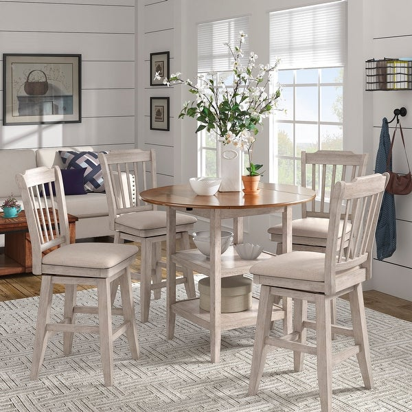 Eleanor Antique White Drop Leaf Round Counter Height Dining Set by iNSPIRE Q Classic