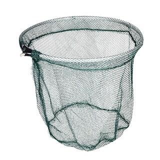 Unique Bargains 13.8'' x 15.7'' Nylon Metal Portable Fishing Landing Net Fish Angler Mesh Silver Tone Green