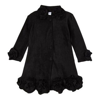 Girls Black Rosette Flower Trim Collar Sleeve Cuff Coat