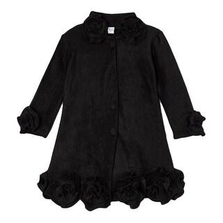 Little Girls Black Rosette Flower Trim Collar Sleeve Cuff Coat (5 options available)