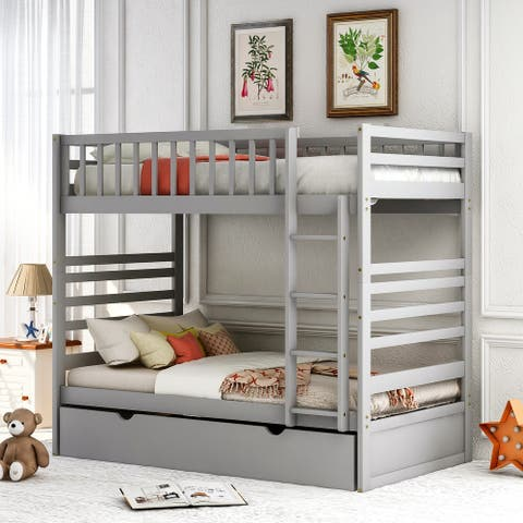Harper & Bright Designs Twin over Twin Bunk Bed with Trundle, Ladder and Safety Rail