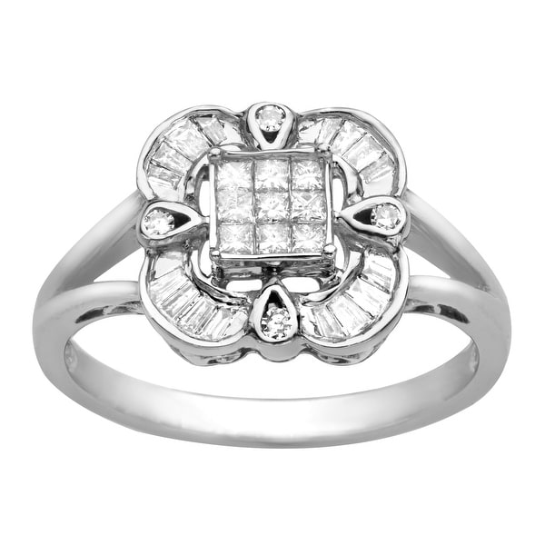 1/3 ct Diamond Starburst Ring in 14K White Gold