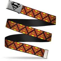 Superman Brushed Silver Black  Cam Super Shield Flipped Black Red Web Belt
